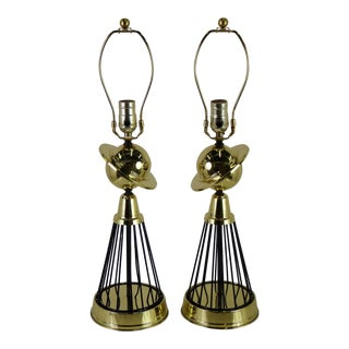 1940s Vintage Modern Brass and Wire Saturn Table Lamps- A Pair For Sale