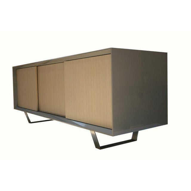 Mn Originals polished lacquer exterior with washed oak doors on stainless steel base sliding door low profile console...