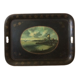 1800's Japanned English Metal Tray With Handles-Windmill Blue and White Ocean Scene For Sale