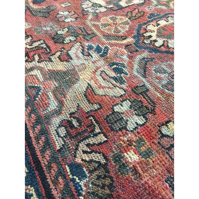 1930s Vintage Distressed Persian Meshkabad Rug - 10′4″ × 13′6″ For Sale - Image 9 of 13
