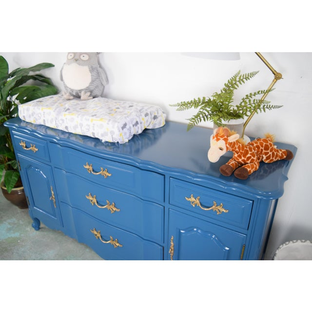 19th Century French Provincial Thomasville Blue Sideboard For Sale - Image 9 of 13