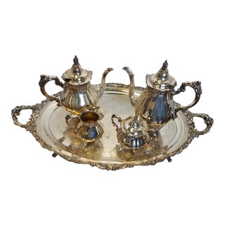 Antique Silver Plated Baroque Tea and Coffee Service by Wallace - 5 Pieces For Sale