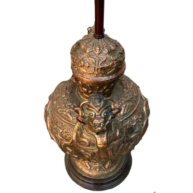 Early 21st Century Antique Tibetan Repousse Copper Wine Vessel Lamp With Inlaid Turquoise For Sale - Image 5 of 7