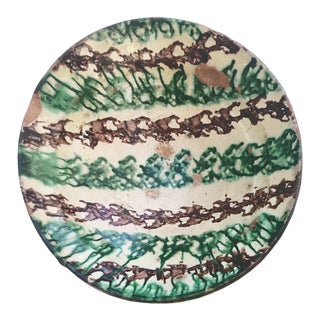 Moroccan Tamegroute Glaze Green Zigzag Pattern Serving Bowl For Sale