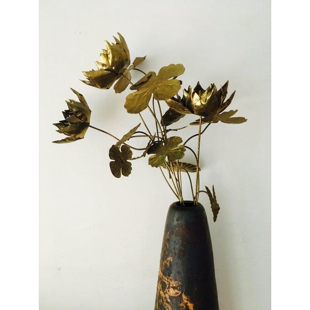 Gold Brutalist Brass Flowers & Vase For Sale - Image 8 of 8