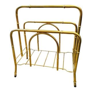 Palm Beach Regency Faux Bamboo Gold Metal Magazine Rack For Sale