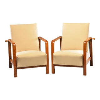 Pair Reclining Palisander Italian Art Deco Arm Chairs