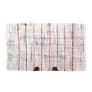 Vintage Striped Farmhouse Rag Rug For Sale