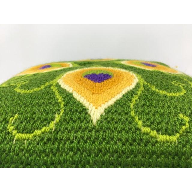 1960s Mid-Century Modern Artful, Handmade Crewel Pillow For Sale - Image 5 of 8