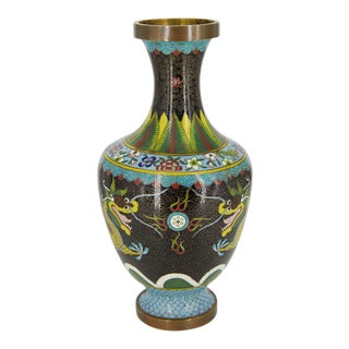 Vintage Chinese Dragon Cloisonné Vase For Sale