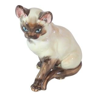 Ceramic Siamese Cat Figurine For Sale