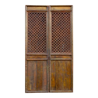 Aged Brown Asian Tall Lattice Screen For Sale