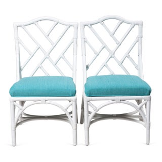 White Bamboo Dining Chairs - Set of 8