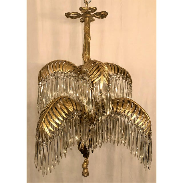Belle Epoque Antique French Belle Epoch Palm Chandelier, Circa 1890. For Sale - Image 3 of 5