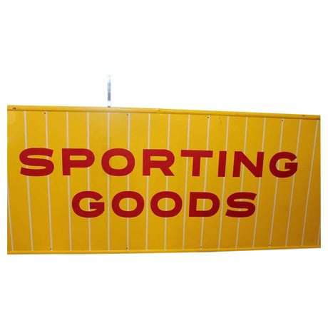 1950s Vintage Sporting Goods Metal Sign For Sale