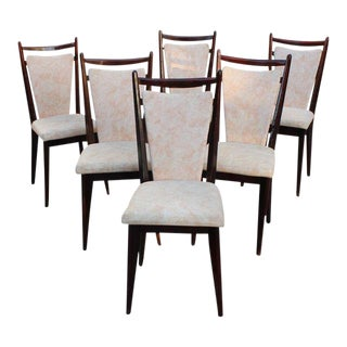 1940s French Art Deco Mahogany Dining Chairs - Set of 6 For Sale