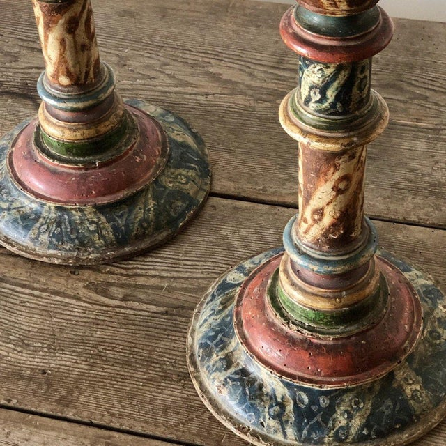 Pair of Turned Faux Painted Candlesticks - Possible Late 19th C.