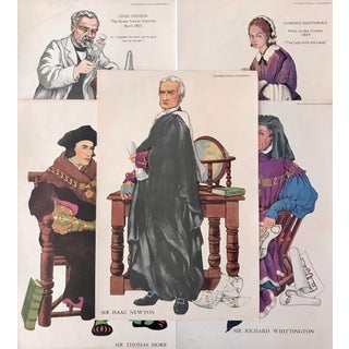 1920s British Historical Teaching Posters, Set of 5 (Louis Pasteur, Florence Nightingale, Richard Whittington, Isaac Newton, Thomas More) For Sale