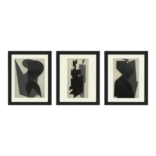 """Framed Serigraphs Titled """"Êtres Ou Fantômes"""" by Victor Vasarely, 1964 - Set of 3 For Sale"""