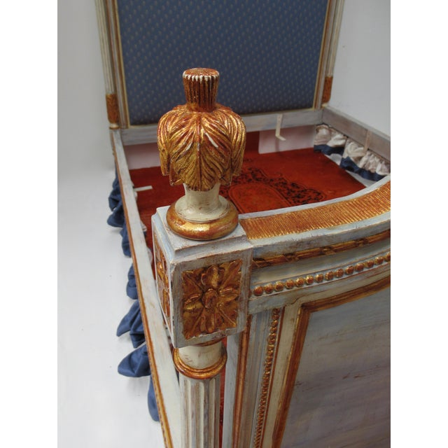 Vintage 19th. Century French Napoleonic Parcel Gilt Painted Full Size Bedframe For Sale - Image 12 of 13