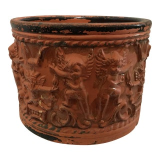 Terracotta Figural Relief Pot For Sale