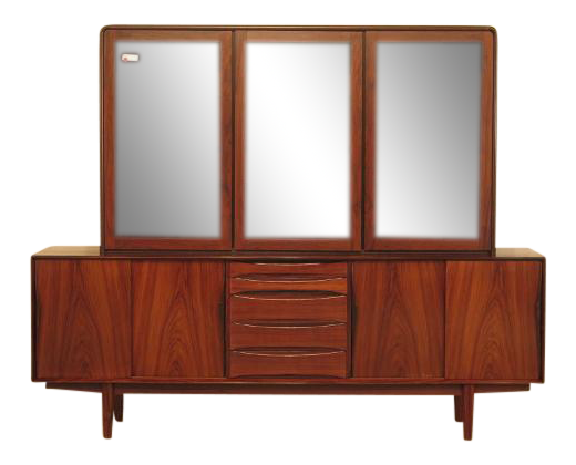 Vintage Mid Century Modern 2 Piece Rosewood Credenza China Cabinet