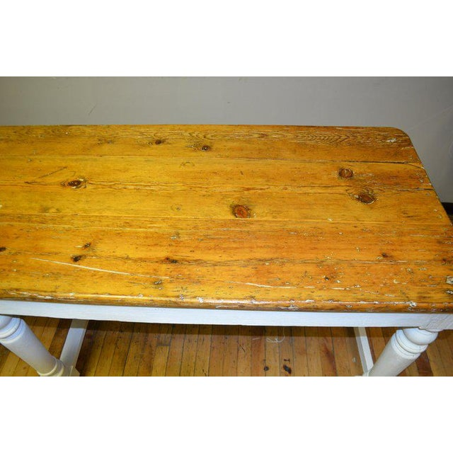 Kitchen Island Restaurant Prep From Rectory Table 100 Years Old. Ships Free. For Sale - Image 9 of 11