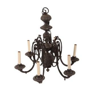 French Antique Gothic Bronze Chandelier