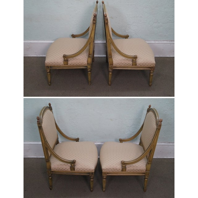 Country Quality French Louis XV Painted Slipper Chairs - 2 For Sale - Image 3 of 10