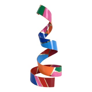 20th Century Abstract Dorothy Gillespie Spiral Ribbon Enamel Aluminum Sculpture For Sale