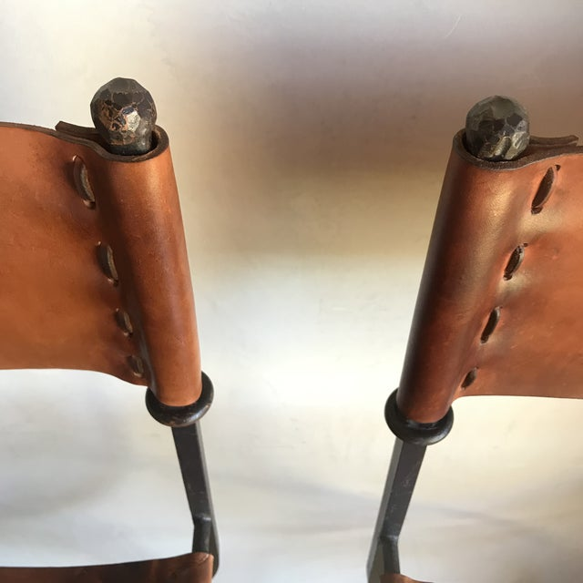 Rare Vintage Restored Hand Forged Solid Iron Campaign Safari Spanish Saddle Leather Rustic Neoclassical Bar Stools - a Pair For Sale - Image 11 of 13