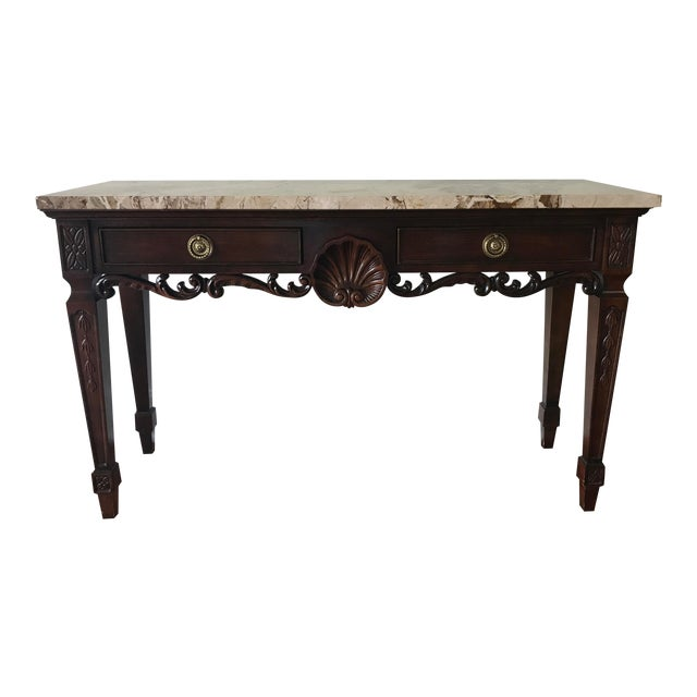 1980s Century Furniture Marble Topped Console Table For Sale