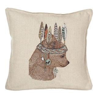 Contemporary Linen Bear Portrait Pillow For Sale