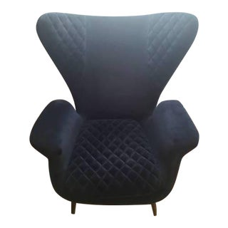 Navy Suede Wingback Chair