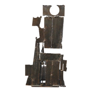 1960s Brutalist Metal Sculpture For Sale