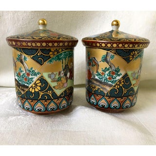 Antique Meiji Period Japanese Porcelain Imari Lidded Teacups - a Pair Preview