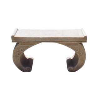 Chinese Off White Gray Marble Stone Curved Legs Stand Table For Sale