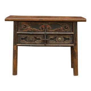 Antique Rugged Shanxi Carved Dresser For Sale