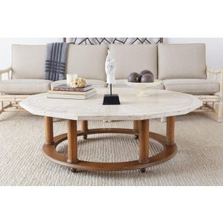Henredon Mid-Century Modern Travertine Coffee Cocktail Table Preview