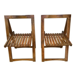 Mid-Century Modern Wood Folding Chairs - a Pair