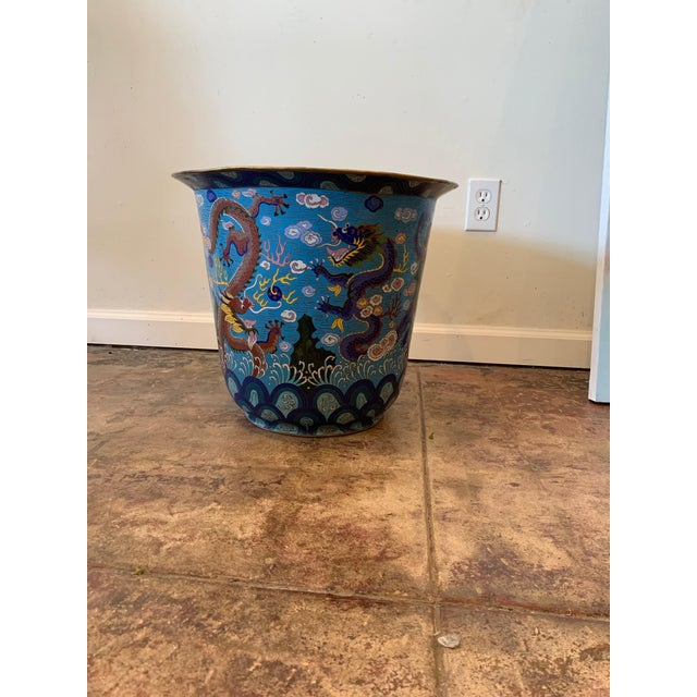 Antique Chinese Cloisonne Planter For Sale - Image 4 of 4
