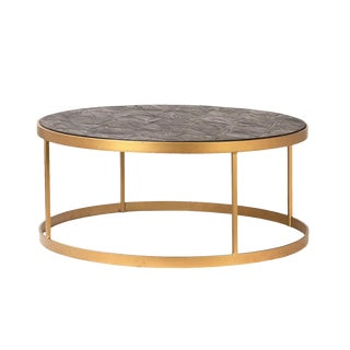 Round Brass & Parque Wood Coffee Table For Sale