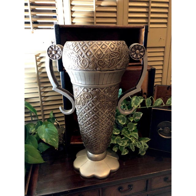 Contemporary Mediterranean Uttermost Grecian Urn / Vase With Handles For Sale - Image 9 of 11