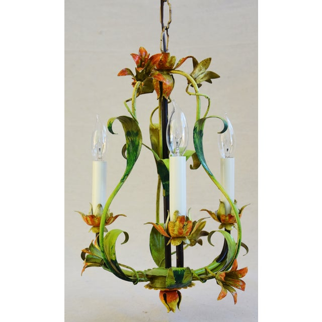 Vintage Italian Three Arm/Light Lily Flower Tole Chandelier For Sale - Image 11 of 11