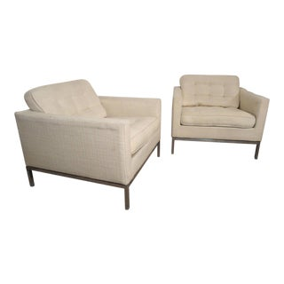 Mid-Century Pair of Upholstered Armchairs by Knoll Associates