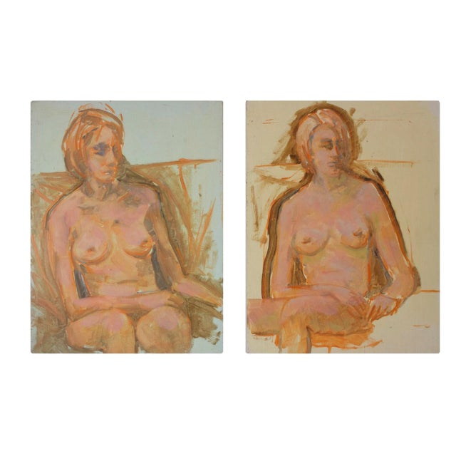 Nude Woman Portrait Paintings- Set of 2 - Image 1 of 5