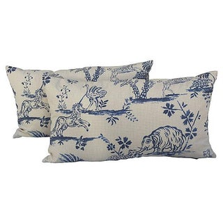 Animal Toile Textile Pillows - Pair For Sale