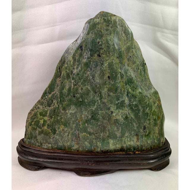 Wood Jade Mountain Okimono Natural Jade Specimens - a Pair For Sale - Image 7 of 13