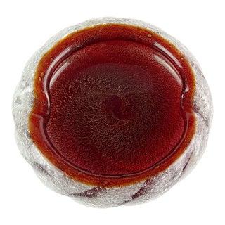 Seguso Vetri d'Arte Murano Red Gold Flecks Pulegoso Italian Art Glass Dish Ashtray For Sale
