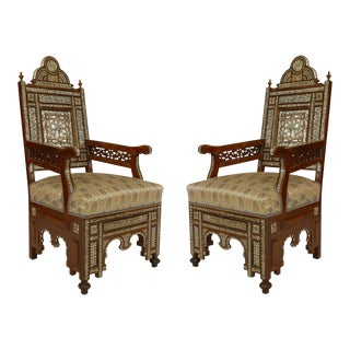 Middle Eastern Syrian Walnut Arm Chairs For Sale